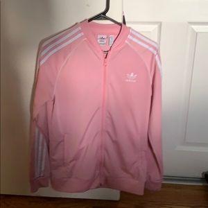 pink adidas superstar track jacket